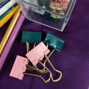 🌈 4/$20 Pink and Green Binder Clips